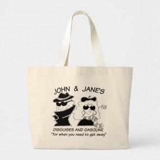 John and Janes Disguises and Gasoline Jumbo Tote Bag