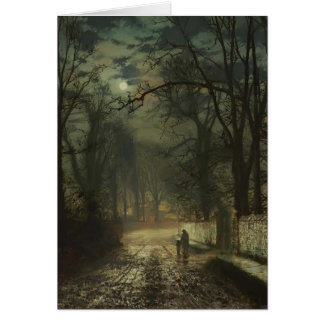 John Atkinson Grimshaw- A moonlit lane Card