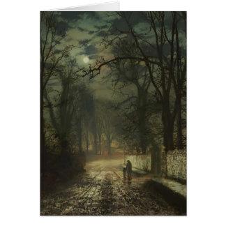 John Atkinson Grimshaw- A moonlit lane Greeting Card