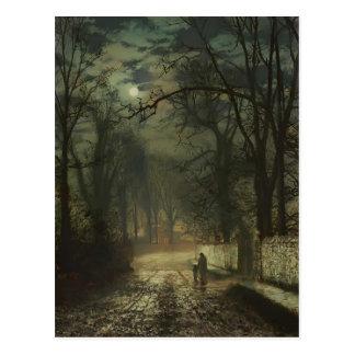 John Atkinson Grimshaw- A moonlit lane Postcard