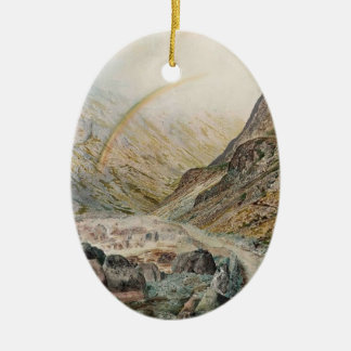 John Atkinson Grimshaw-A Mountain Road, Flood Time Ceramic Oval Decoration