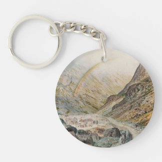 John Atkinson Grimshaw-A Mountain Road, Flood Time Acrylic Key Chain