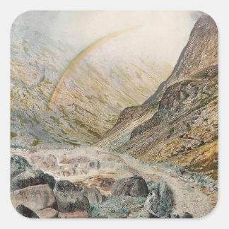 John Atkinson Grimshaw-A Mountain Road, Flood Time Square Sticker
