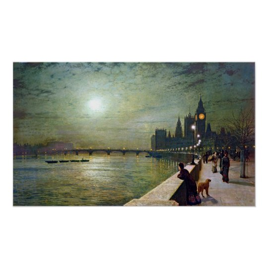 John Atkinson Grimshaw Reflections on the Thames Poster