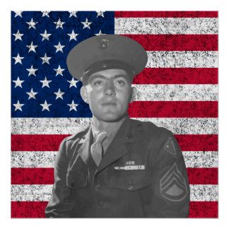 John Basilone and The American Flag Poster