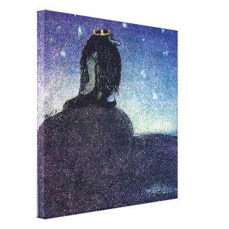 John Bauer King of Troll Mountain in Blue Canvas Print