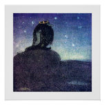 John Bauer King of Troll Mountain in Blue Poster