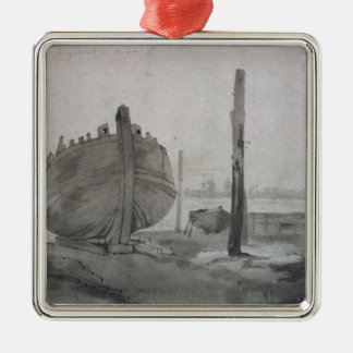 John Constable   River Scene with Vessel at Sunset Christmas Ornament