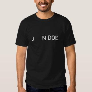 John Doe white on black t-shirt