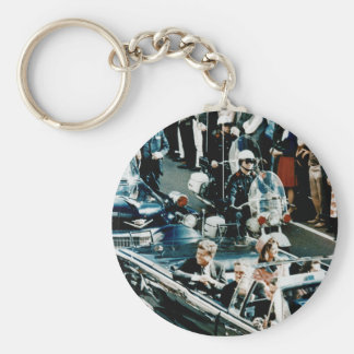 John F Kennedy and Jackie in the Motorcade Dallas Basic Round Button Key Ring