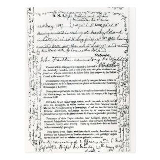 John Franklin's Message Postcard