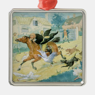 John Gilpin riding to Edmonton Silver-Colored Square Decoration