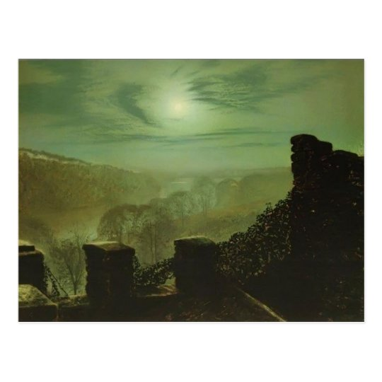 John Grimshaw- Full Moon behind Cirrus Cloud Postcard
