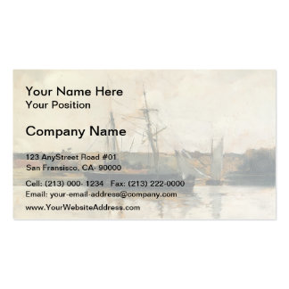 John Henry Twachtman- Sailing Boats, Dieppe Harbor Business Cards