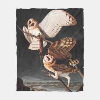 John James Audubons Barn Owls - Tyto alba Fleece Blanket