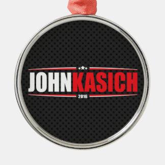 John Kasich 2016 (Stars & Stripes - Black) Silver-Colored Round Decoration
