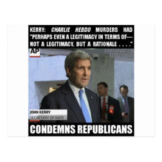 John Kerry: Secretary of Hate Postcard