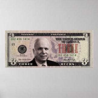 John McCain $3 Bill Poster