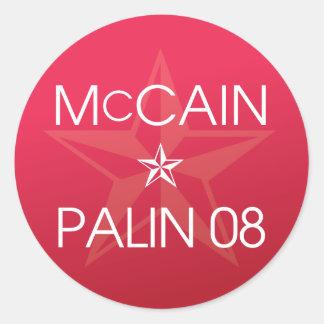 John McCain * Sarah Palin 2008 Classic Round Sticker
