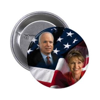 John McCain & Sarah Palin, 2008 Elections 6 Cm Round Badge
