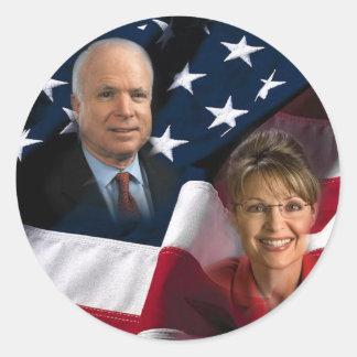 John McCain & Sarah Palin, 2008 Elections Round Sticker
