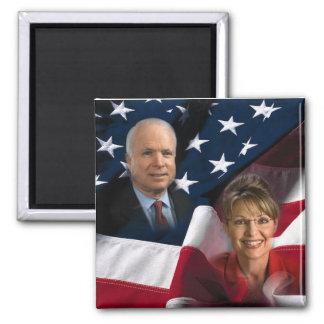 John McCain & Sarah Palin, 2008 Elections Square Magnet