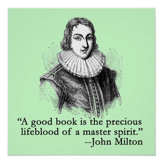 John Milton Portrait and Quote Poster