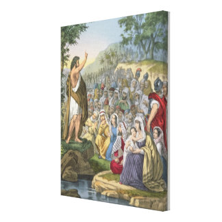 John Preaching in the Wilderness from a bible pri Gallery Wrap Canvas