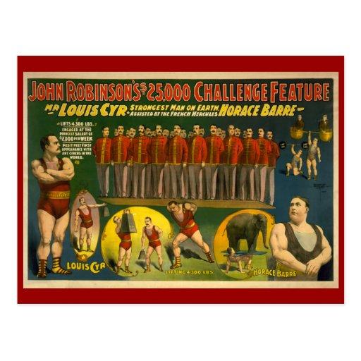 John Robinson's $25,000 Challenge Circus Poster Postcard
