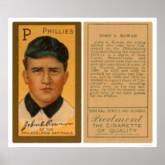 John Rowan Phillies Baseball 1911 Poster