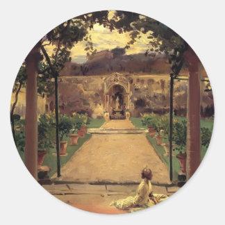 John Sargent- At Torre Galli. Ladies in a Garden Round Sticker