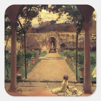 John Sargent- At Torre Galli. Ladies in a Garden Square Sticker