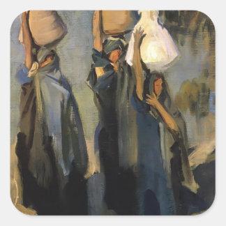 John Sargent- Bedouin Women Carrying Water Jars Square Sticker