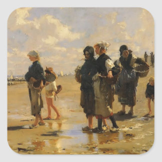 John Sargent- Fishing for Oysters at Cancale Square Stickers