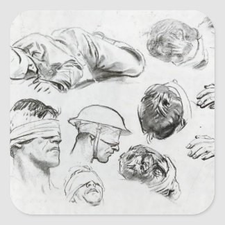 John Sargent: Heads, Hands, and Figure Square Sticker