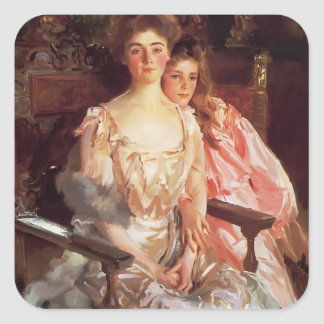 John Sargent-MrsFiske Warren & her Daughter Rachel Square Sticker