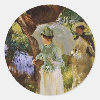 John Sargent- Two Girls with Parasols at Fladbury Round Sticker