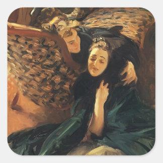 John Sargent- Violet Sargent and Flora Priestley Square Sticker