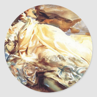 John Sargent: Woman Reading in a Cashmere Shawl Classic Round Sticker