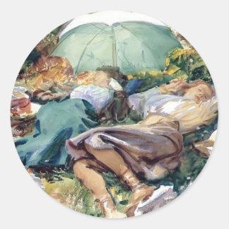John Singer Sargent- A Siesta Round Sticker