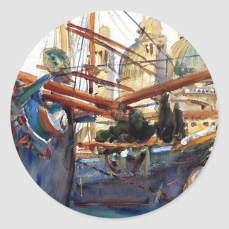 John Singer Sargent- Behind the Salute Round Stickers