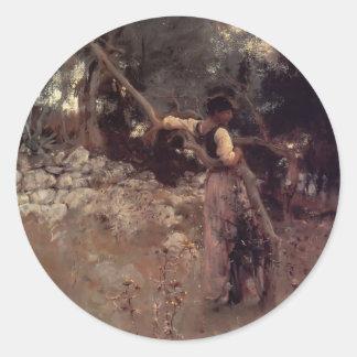 John Singer Sargent- Capri Girl Round Stickers