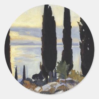 John Singer Sargent- Cypress Trees at San Vigilio Classic Round Sticker