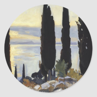 John Singer Sargent- Cypress Trees at San Vigilio Round Sticker