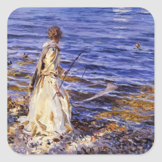 John Singer Sargent- Girl Fishing Square Sticker