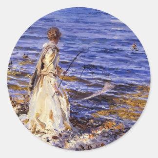 John Singer Sargent- Girl Fishing Round Sticker