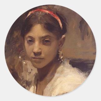 John Singer Sargent- Head of a Capri Girl Round Stickers