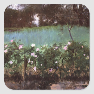 John Singer Sargent- Landscape with Rose Trellis Square Sticker