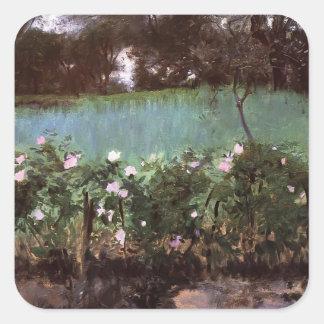 John Singer Sargent- Landscape with Rose Trellis Square Sticker
