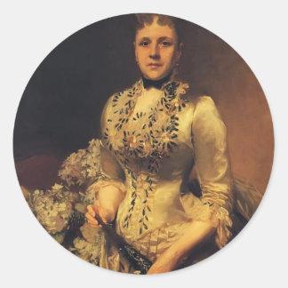 John Singer Sargent- Mrs. Jacob Wandell Round Stickers